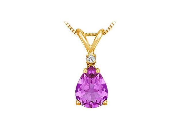 Diamond and Amethyst Solitaire Pendant  14K Yellow Gold - 1.00 CT TGW