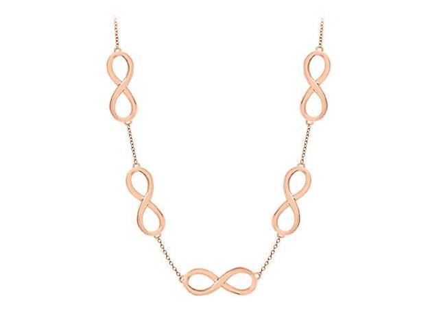 Infinity Link Necklace Vermeil with 14K Rose Gold Sterling Silver 17 Inch Length
