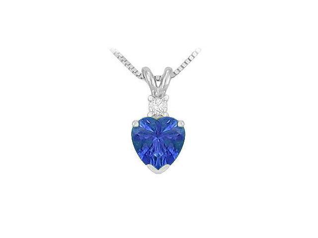 Synthetic Heart Shaped Sapphire Solitaire Pendant  .925 Sterling Silver - 1.00 CT TGW
