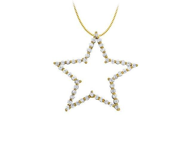 Diamond Star Pendant in 14K Yellow Gold 1.00 CT TDWPerfect Jewelry Gift