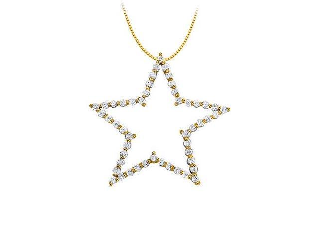 Diamond Star Pendant in 14K Yellow Gold 1.00 CT TDWPerfect Jewelry Gift