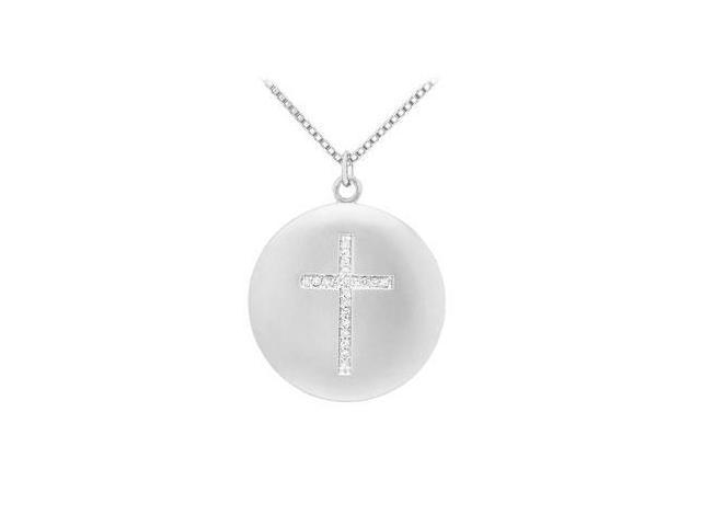Cubic Zirconia Cross Pendant in Rhodium Treated .925 Sterling Silver 0.10 Carat TGW