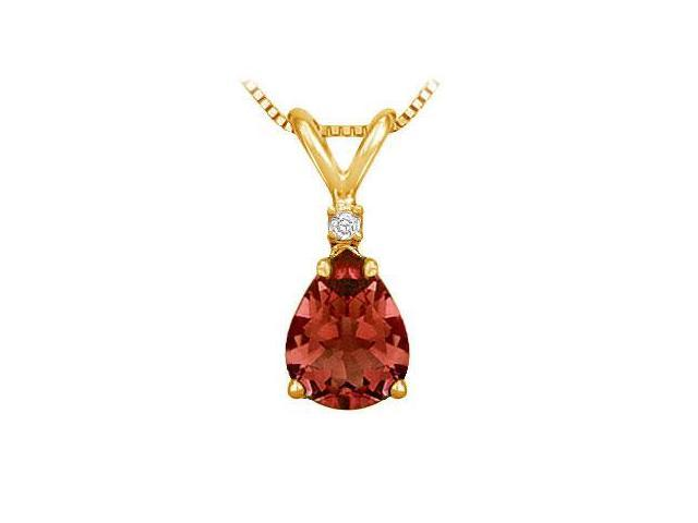 Diamond and Garnet Solitaire Pendant  14K Yellow Gold - 1.00 CT TGW