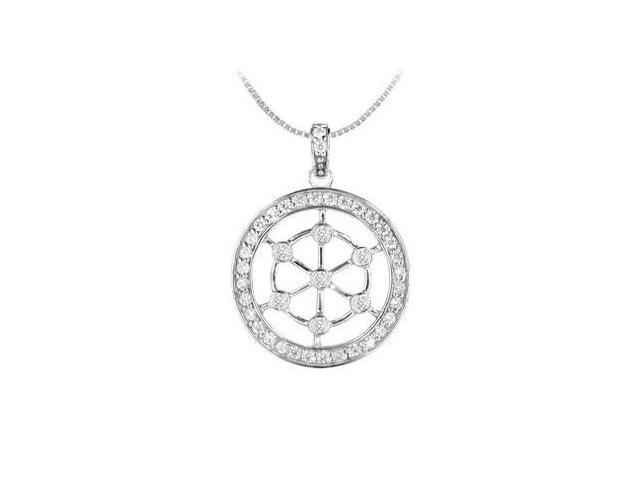 Diamond Circle Pendant  14K White Gold - 0.75 CT Diamonds