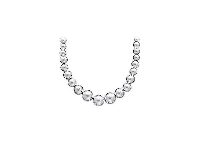 Beads Necklace in Rhodium Plating 925 Sterling Silver Chain with Graduated 9 MM to 5 MM Beads