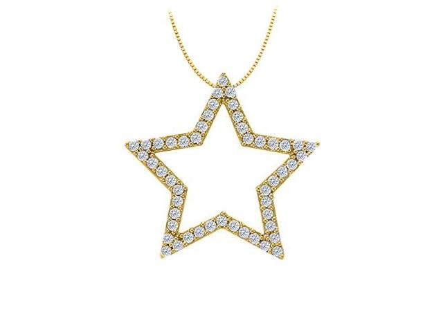 Diamond Star Pendant in 14K Yellow Gold 0.50 CT TDWPerfect Jewelry Gift