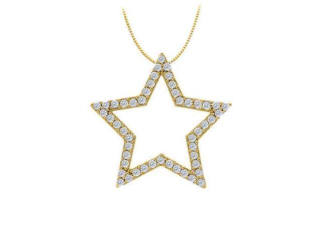 Diamond Star Pendant in 14K Yellow Gold 0.50 CT TDWPerfect Jewelry Gift