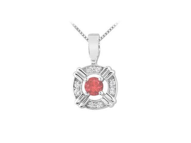 Ruby and Diamond Circle Pendant  14K White Gold - 0.25 CT TGW