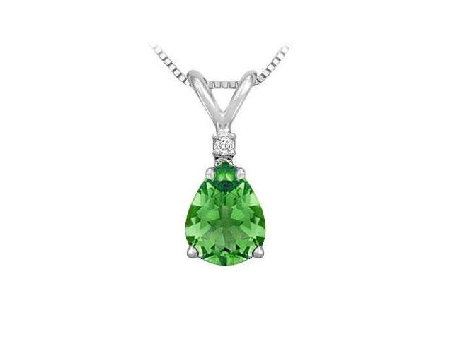 Diamond and Emerald Solitaire Pendant  14K White Gold - 1.00 CT TGW