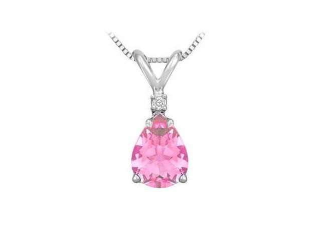 Synthetic Pear Shaped Pink Sapphire Solitaire Pendant  .925 Sterling Silver - 1.00 CT TGW