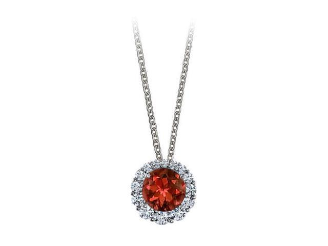 Halo Pendant with April Birthstone CZ and January Birthstone Garnet 14K White Gold 2.50 CT TGW
