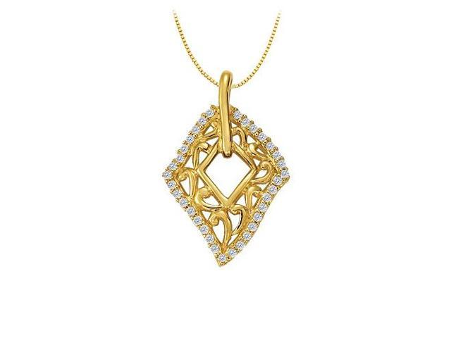CZ Fashion Pendant Yellow Gold Vermeil over Sterling Silver 0.25 CT TGWJewelry Gift for Women