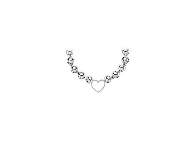 CZ Heart Necklace in 925 Sterling Silver with Beads Set on Silver Chain Totaling of 0.75 Carat