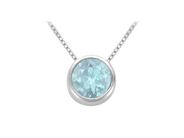 Created Aquamarine Solitaire Pendant in 14kt White Gold 1.00.ct.tgw