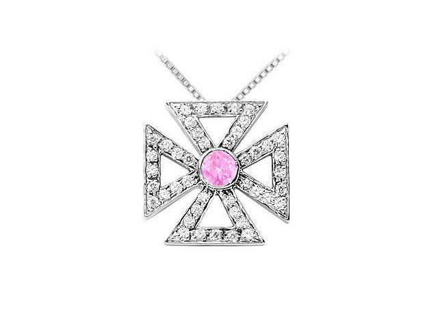 Bezel Set Created Pink Sapphire with CZ Maltese Cross Pendant in 925 Sterling Silver 0.75 Carat