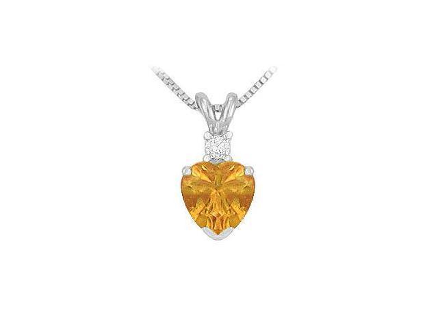 Diamond and Citrine Solitaire Pendant  14K White Gold - 1.00 CT TGW
