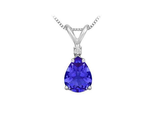 Synthetic Pear Shaped Sapphire Solitaire Pendant  .925 Sterling Silver - 1.00 CT TGW