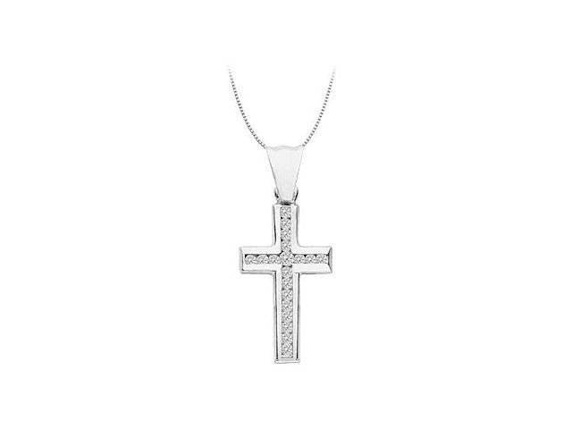 Religious Cross Necklace with Diamond Channel Set in 14K White Gold 0.40 Carat Diamonds