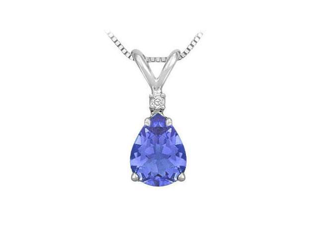 Synthetic Pear Shaped Tanzanite Solitaire Pendant  .925 Sterling Silver - 1.00 CT TGW