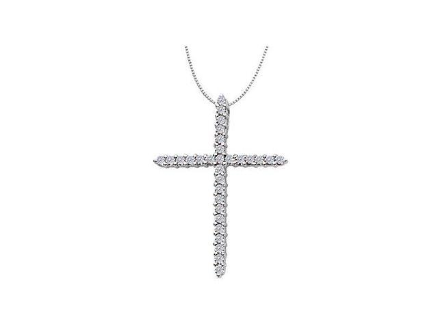 14K White Gold Religious Diamond Cross Pendant Necklace of 2.10 Carat Diamonds