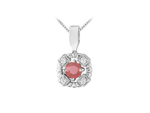 Ruby and Diamond Pendant  14K White Gold - 0.50 CT TGW