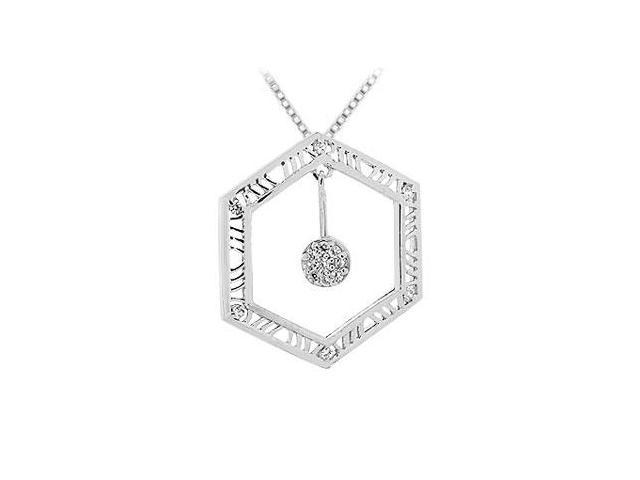 Diamond Pendant  14K White Gold - 0.15 CT Diamonds