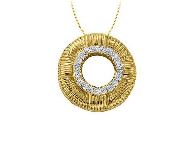 Cubic Zirconia Fancy Circle Fashion Pendant in Gold Vermeil over Sterling Silver 0.10 CT TGW