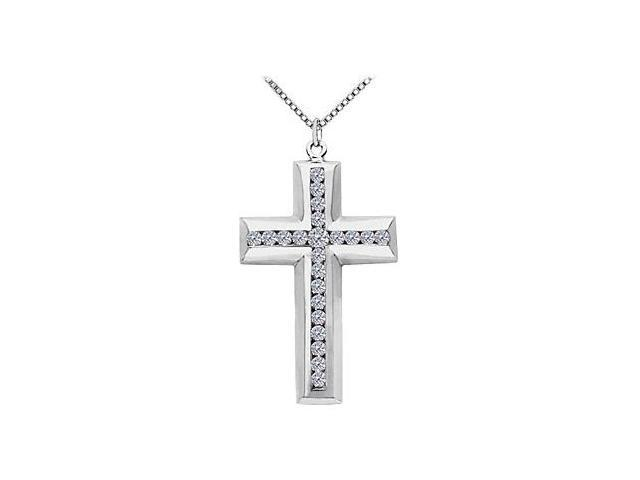 14K White Gold Cross of Religious Necklace with Channel Set CZ of 3.35 Carat Total Gem Weight