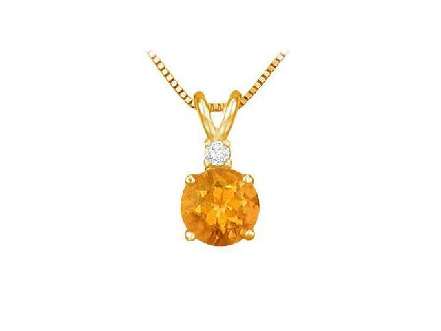 Diamond and Citrine Solitaire Pendant  14K Yellow Gold - 1.00 CT TGW