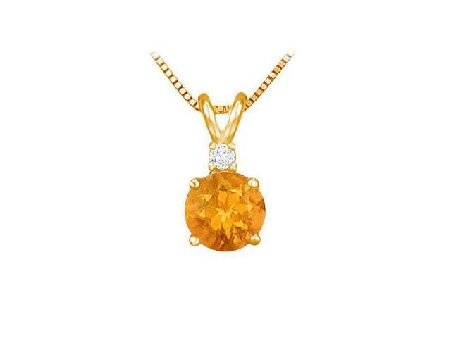 Diamond and Citrine Solitaire Pendant  14K Yellow Gold - 1.00 CT TGW