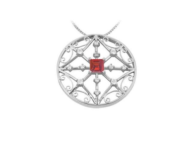 Ruby and Diamond Pendant  14K White Gold - 1.75 CT TGW