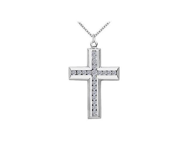 Religious 14K White Gold Cross Necklace with CZ 2 Carat Total Gem Weight in Channel Setting