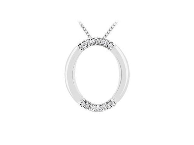 Diamond Oval Pendant  14K White Gold - 0.10 CT Diamonds