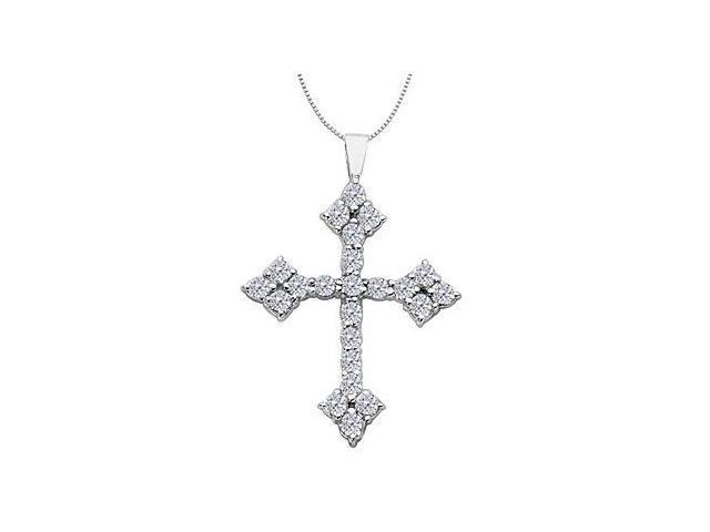 14K White Gold Diamond Religious Cross Pendant Necklace of 1.50 Carat Diamonds