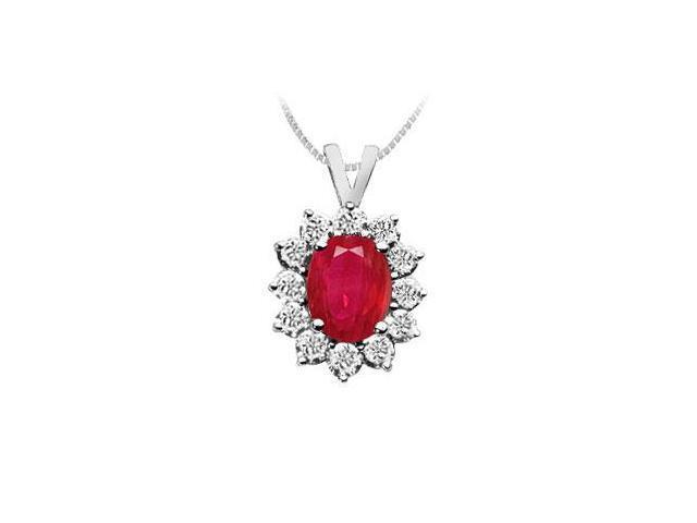 Ruby and Diamond Pendant  14K White Gold - 2.25 CT TGW
