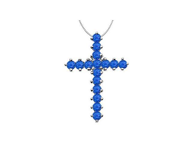 Religious Cross Pendant with Natural Blue Sapphire in 14K White Gold 2 Carat Total Gem Weight