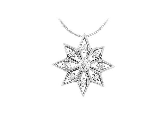 Diamond Flower Pendant  14K White Gold - 0.15 CT Diamonds