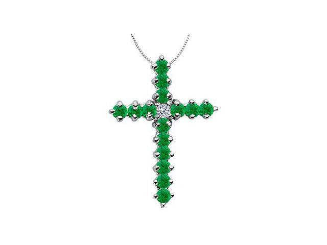Natural Green Emerald Cross Necklace in 14K White Gold Religious Pendant Necklace 1.30 Carat TGW
