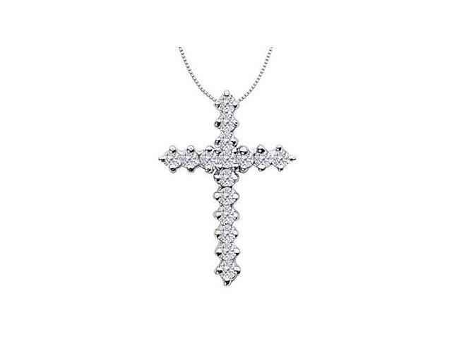 Religious Diamond Cross Neckalce in White Gold 14K of 0.65 Diamonds