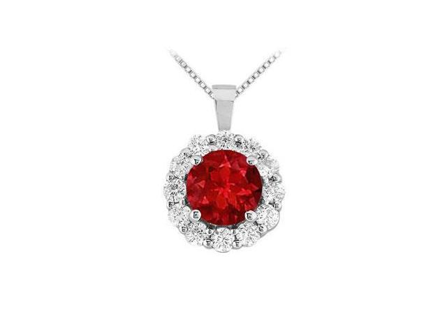 Ruby and Diamond Circle Pendant  14K White Gold - 1.50 CT TGW