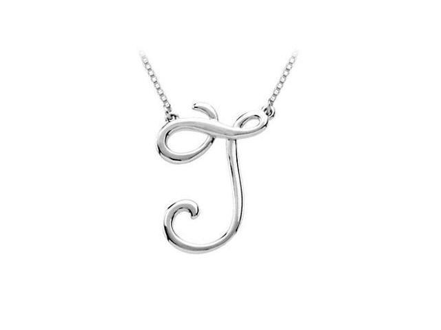 Plain Letter J Script Pendant - .925 Sterling Silver