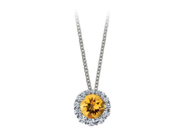 Halo Pendant with April Birthstone CZ and November Birthstone Citrine 14K White Gold 2.50 CT TGW
