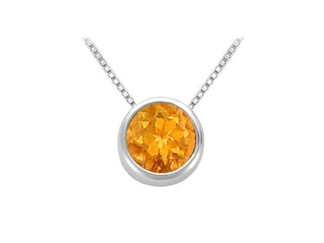Citrine Solitaire Pendant in 14kt White Gold 1.00.ct.tgw