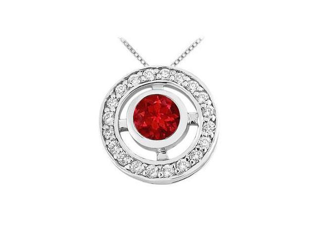 Ruby and Diamond Circle Pendant  14K White Gold - 0.50 CT TGW