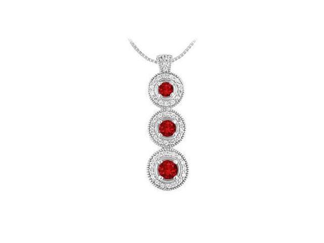 Ruby and Diamond Pendant  14 White Gold - 1.25 CT TGW