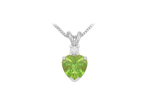 Diamond and Peridot Solitaire Pendant  14K White Gold - 1.00 CT TGW