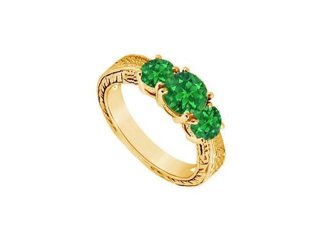 Emerald Three Stone Ring  14K Yellow Gold - 1.00 CT TGW