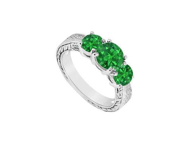 Emerald Three Stone Ring  14K White Gold - 1.25 CT TGW