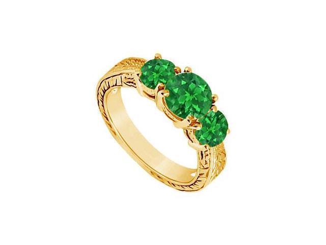 Emerald Three Stone Ring  14K Yellow Gold - 1.25 CT TGW