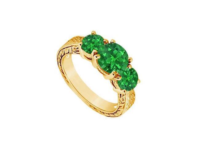 Emerald Three Stone Ring  14K Yellow Gold - 1.50 CT TGW